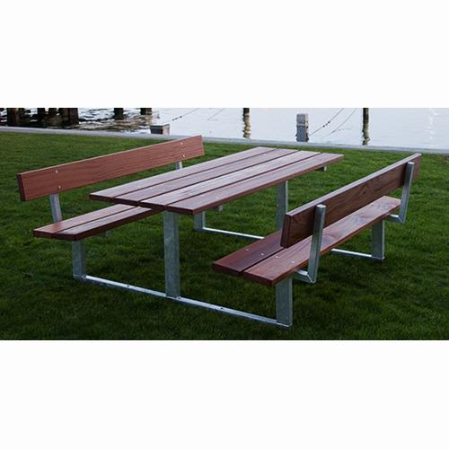Klassiskt bord och bänk med ryggstöd i mahogny