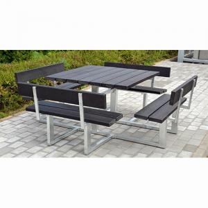 Rektangulärt bord och bänkar för 8 personer i stål och brädor av kompositplast